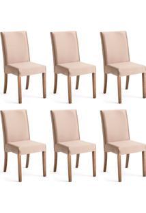 Conjunto Com 6 Cadeiras De Jantar Filipinas Dourado E Imbuia