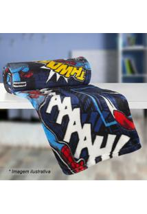 Manta Fleece Solteiro Spider Man®- Azul Escuro Vermelhlepper