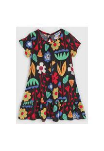 Vestido Nanai By Kyly Infantil Floral Preto/Vermelho