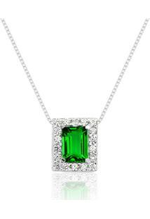 Colar Prata Rara Princesa Retangular Verde Esmeralda