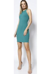 Vestido Canelado Assimétrico- Verde- Colccicolcci