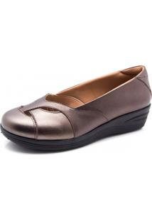 46ed02d62 Sapato Couro Doctor Shoes 194 Anabela Recortes Bronze