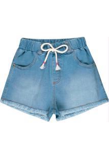 Short Jeans Infantil Menina Azul