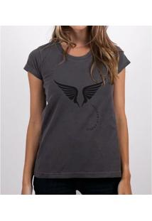 Camiseta Fernanda Almeida Angels - Feminino-Cinza