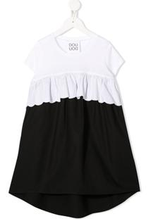 Douuod Kids Vestido Color Block Com Babados - Branco