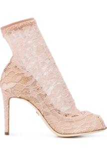 Dolce & Gabbana Sapato Peep Toe Rendado - Neutro