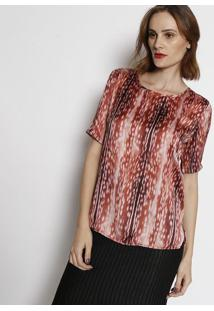 Camiseta Acetinada Animal Print - Ros㪠& Marromsimple Life