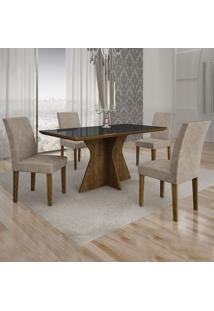 Conjunto De Mesa De Jantar Creta I Com 4 Cadeiras Olímpia Suede Preto E Marrom