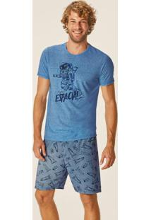 Pijama Azul Espacial Anti Odor Masculino