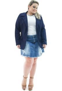 Blazer Confidencial Extra Plus Size Jeans Alongado Com Elastano Feminino - Feminino