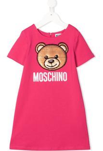 Moschino Kids Vestido Evasê Com Aplicação De Urso - Rosa