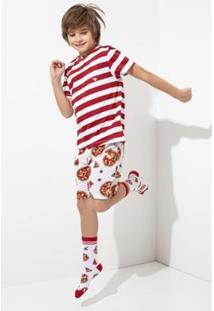 Conjunto Pijama Infantil Acuo De Malha Pizza Masculino - Masculino-Vermelho