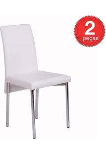 Cadeira-306-Cromada-02 Unidades-Couríssimo-Branco-Carraro