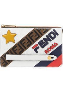 Fendi Fendimania Slim Zipped Clutch Bag - Branco