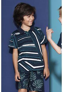 Camisa Polo Infantil Menino Em Malha De Algodão Flamê Estampada Puc       bb43abe76ffe4