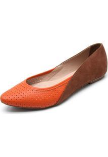 Sapatilha Dafiti Shoes Recorte Laranja/Caramelo
