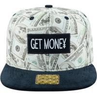 bbbe320f31 Boné Aba Reta Young Money Snapback Get Money - Unissex-Preto