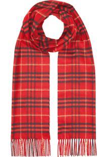 Burberry Cachecol De Cashmere Com Xadrez Clássico - Vermelho