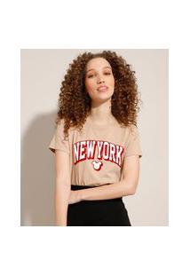 "Camiseta De Algodão Mickey ""New York"" Flocada Manga Curta Decote Redondo Kaki"