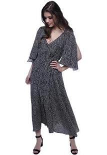 Vestido Crepe Abotoamento Frontal Pop Me Feminino - Feminino-Preto