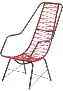 Cadeira De Fio Trançado Eletrostático Plus Vermelho Fabone Móveis Tubulares