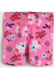 Bermuda Zig Zig Zaa Infantil Flores Rosa