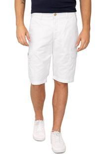 Bermuda Sarja Calvin Klein Jeans Cargo Pespontos Branca