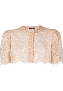 Dolce & Gabbana Cropped Lace Jacket - Rosa