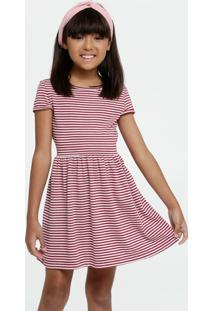 Vestido Infantil Listrada Manga Curta Marisa