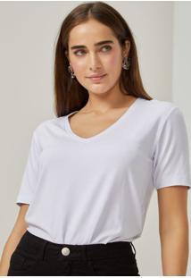Amaro Feminino T-Shirt Decote V Viscose, Branco