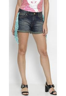 Short Jeans Com Franjas- Azul Escuro & Verde Águacarmen Steffens