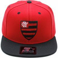 Boné Starter X Flamengo Vermelho Aba Reta Preta Escu. faef843fc84