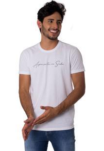 Camiseta Meu Senhor Manuscrita Gola Redonda Thiago Brado 1107000002 Branco
