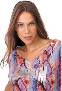 Camiseta Carmim Print Rosa/Azul