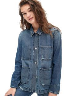Jaqueta Jeans Gap Estonada Azul