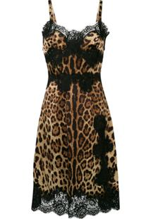 Dolce & Gabbana Vestido Evasê Midi Animal Print - Marrom