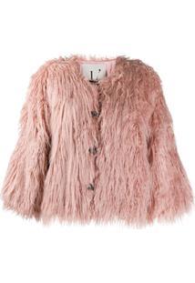 L'Autre Chose Jaqueta Com Pelos - Rosa