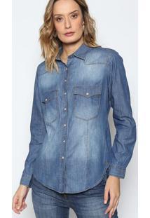 f813179f65 Camisa Jeans Estonada Com Bolsos - Azuldudalina