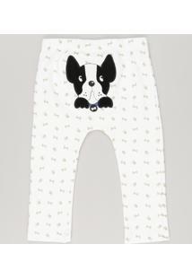 Calça Infantil Cachorrinho Estampada Em Algodão + Sustentável Off White
