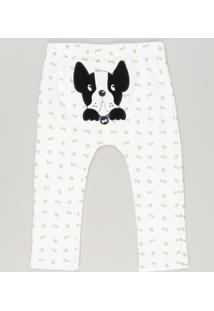 Calça Infantil Cachorrinho Estampada Off White
