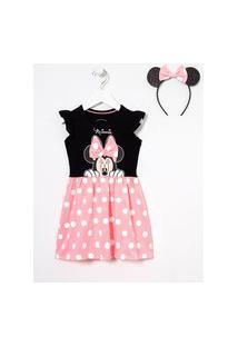 Vestido Infantil Minnie Com Tiara Orelhinhas - Tam 1 A 6 Anos | Minnie Mouse | Multicores | 5-6