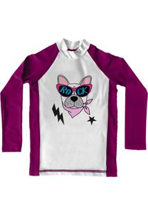 Camiseta De Lycra Comfy Rock Dog Rosa