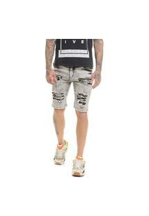 Bermuda Jeans Premium Destroyed Skinny Com Lycra Black Offert