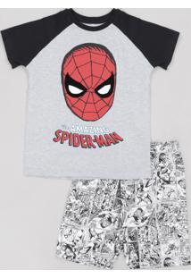 Pijama Infantil Homem Aranha Raglan Manga Curta Cinza Mescla