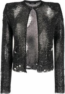 Balmain Jaqueta De Tweed Com Bordado De Paetês - Preto