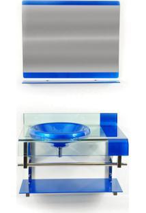 Gabinete De Vidro Para Banheiro Turqui Azul Escuro Ekasa