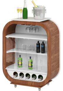 Bar Adega Cristaleira Com Rodízio Mini Decor Miller Interiores Imbuia/Branco