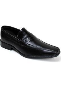 Sapato Social Masculino Couro Liso Costurado Leve Conforto - Masculino-Preto