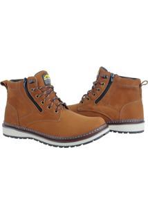Bota Casual Bell Boots Couro Zíper Calce Fácil Macia Conforto Bege