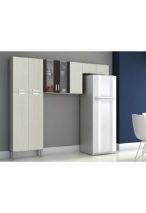 Cozinha Compacta Alfa 9 Portas Arena/Ébano - Lc Móveis
